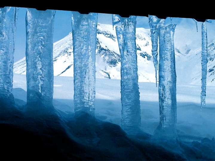 View through the icicles